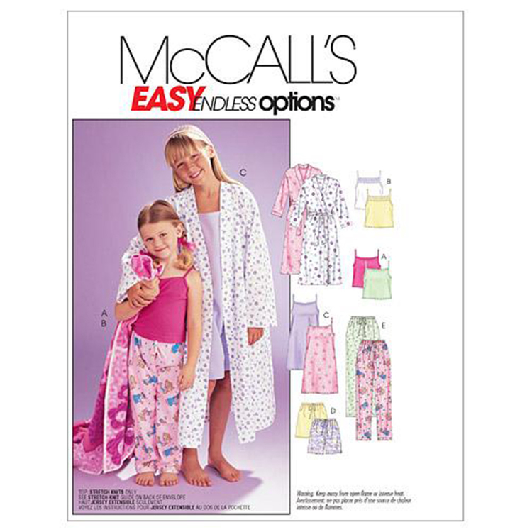McCall's Pattern M6225 Girls' Robe Belt Tops Gown Shorts & Pants