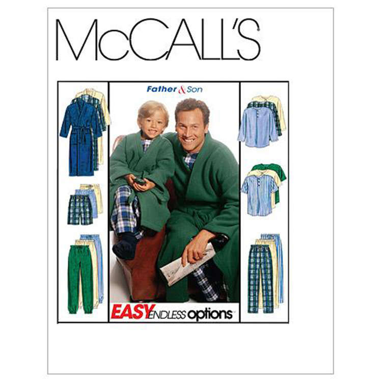 McCall's Pattern M6236 Boys' & Men's Robe With Tie Belt Top Pull-On Pants Or Shorts