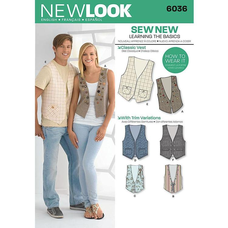 New Look Pattern 6036 Unisex Vest X Small X Large