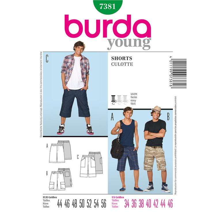 Burda Pattern 7381 Men's Shorts