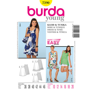 Burda 7390 Women's Dress And Top