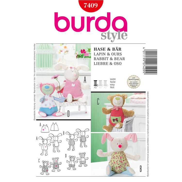 Burda Pattern 7409 Children's Toy Rabbit And Bear