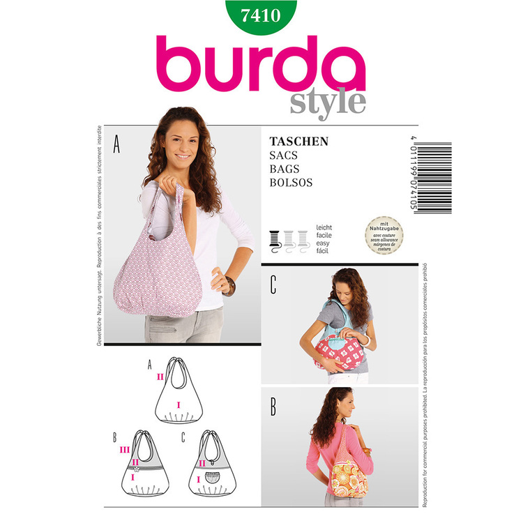 Burda Pattern 7410 Bags
