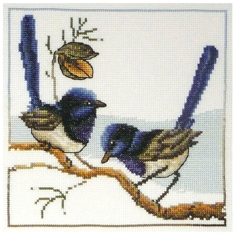 Country Threads Fiona Jude Blue Wrens Cross Stitch