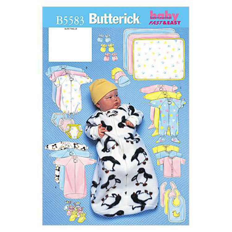 Butterick Pattern B5583 Infants' Bunting Jumpsuit Shirt Diaper Cover Blanket Hat Bib Mittens & Booties