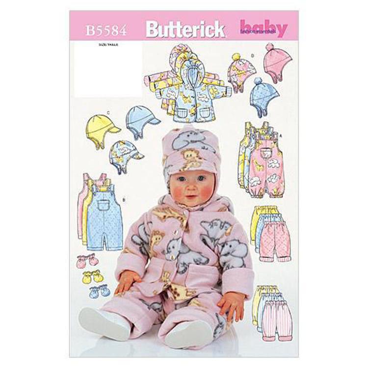 Butterick Pattern B5584 Infants' Jacket Overalls Pants Hat & Mittens