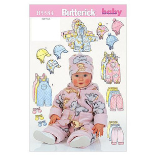 Butterick Pattern B5584 Infants' Jacket Overalls Pants Hat & Mittens