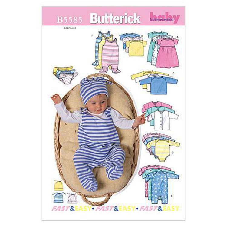 Butterick Pattern B5585 Infants' Jacket Dress Top Romper Diaper Cover & Hat