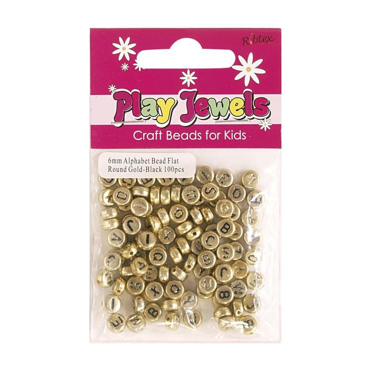 Ribtex Play Jewels Alphabet Flat Round Beads