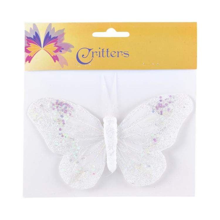Critters White Glitter Butterfly