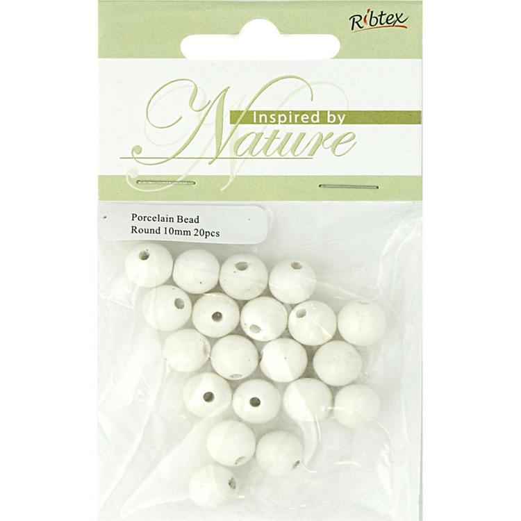 Ribtex Inspired By Nature Donut Porcelain Beads 20 Pack White 10 mm