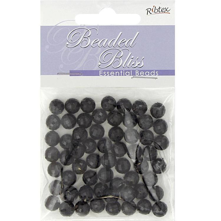 Ribtex Beaded Bliss Faceted Round Plastic Beads Black 8 mm