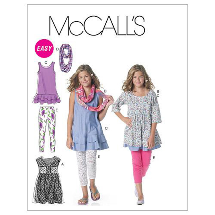 McCall's Pattern M6275 Girls' Plus Dresses Scarf & Leggings