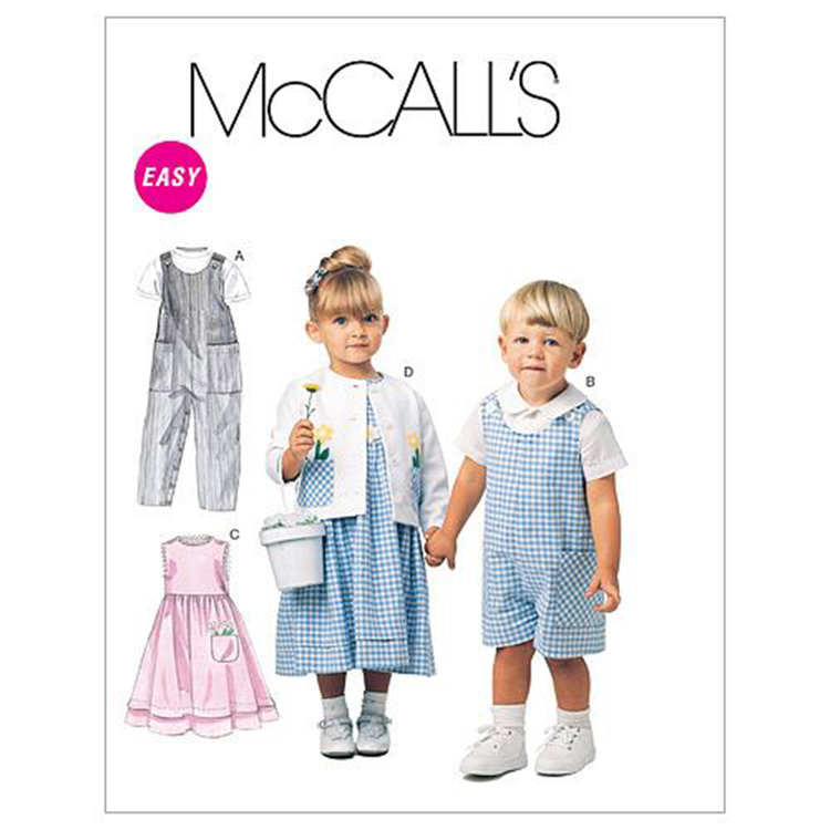 McCall's M6304 Toddlers' Rompers In 2 Lengths Dress Jacket & Shirt