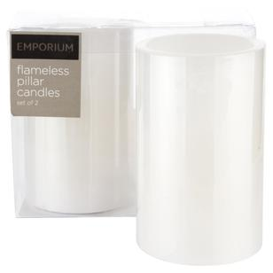 Emporium Pair LED Pillar Candles 10cm