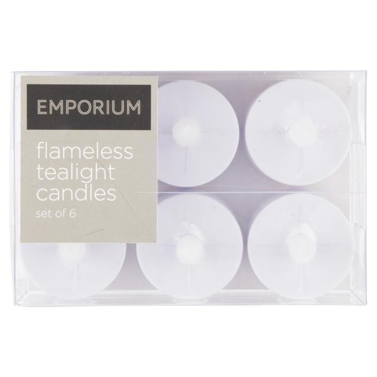 Emporium LED Tealight Candles 6 Pack White