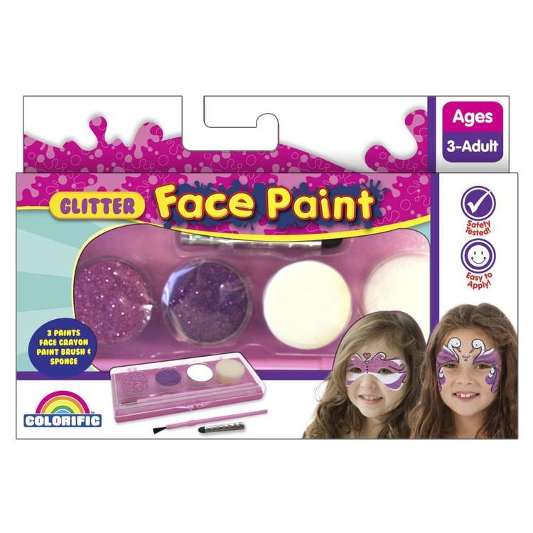 Colorific Glitter Face Paint Kit Multicoloured