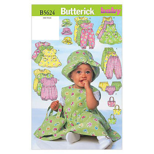 Butterick Pattern B5624 Infants' Dress Jumper Romper Jumpsuit Panties Hat & Bag
