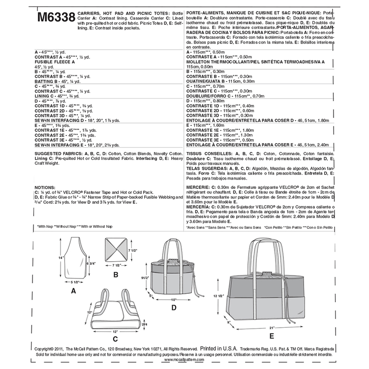 McCalls M6338 Carriers Hot Pad & Picnic Totes One Size