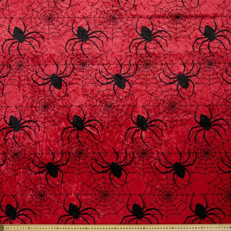 Spider Web Printed 148 cm Panne Fabric
