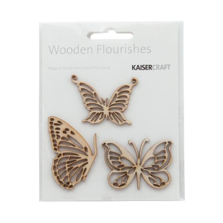 Kaisercraft Wooden Flourishes Magical Butterfly Pack