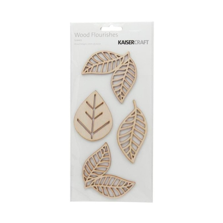 Kaisercraft Wooden Flourishes Leaves Packs