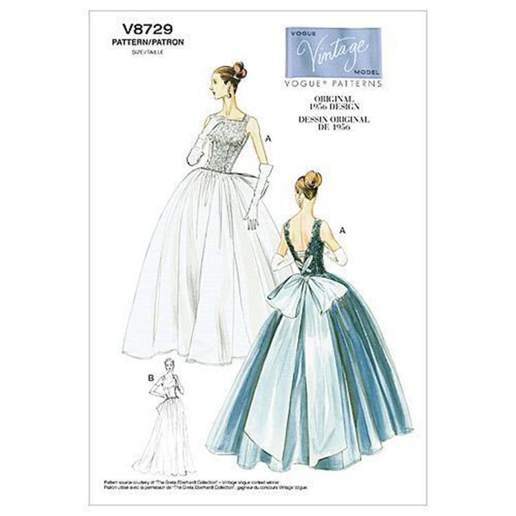Vogue Pattern V8729 Misses' Dress & Underskirt
