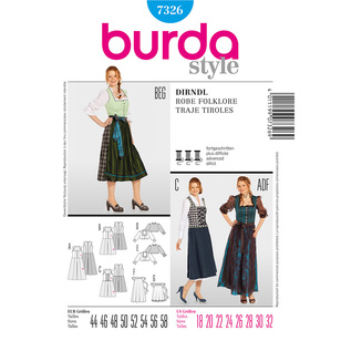Burda Pattern 7326 Women's Drindl Costume