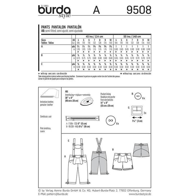 Burda 9508 Boy's Pants  4 - 10