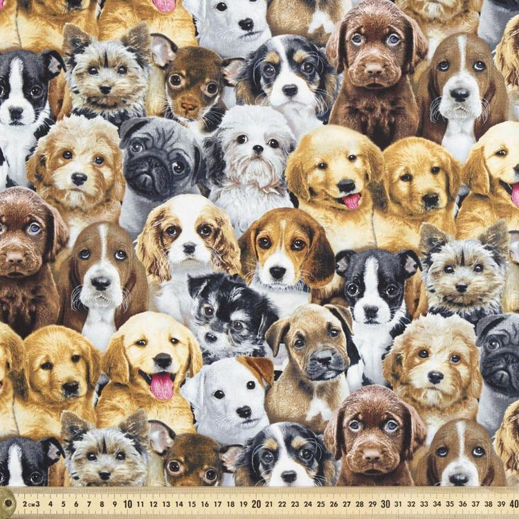 Elizabeth's Studio Adorable Pets Dog Printed Fabric