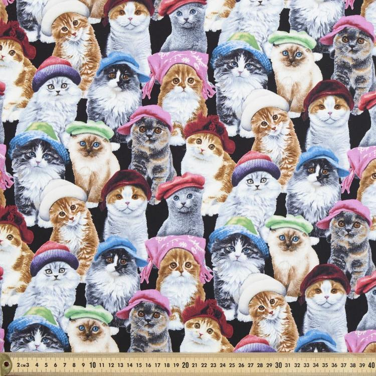 Elizabeth's Studio Adorable Pets Cat Hats Printed Fabric
