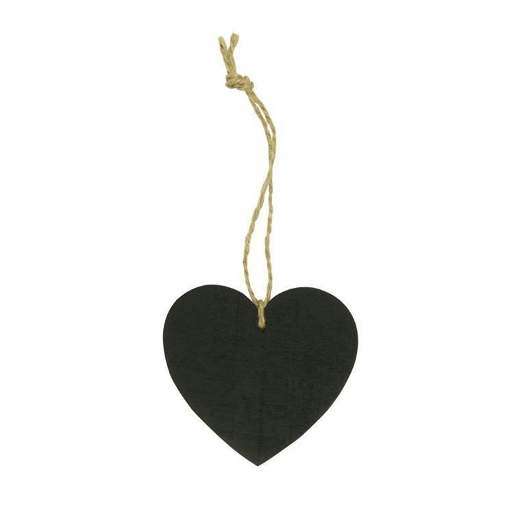 Favours Tag Chalkboard Hearts 5 Pack Black