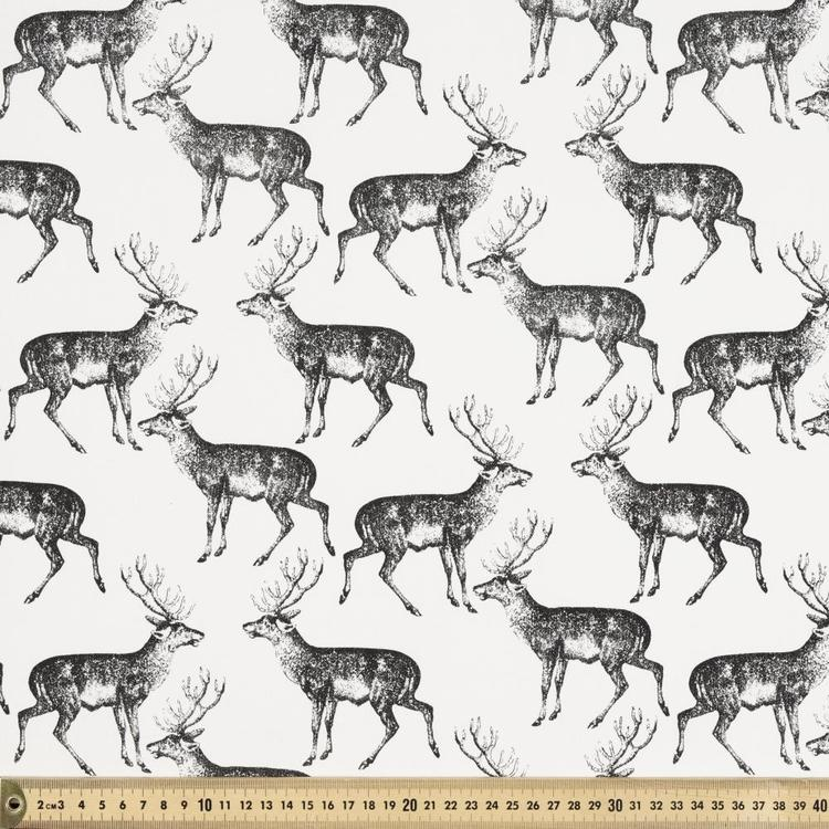 Deer Printed 112 cm Buzoku Cotton Duck Fabric