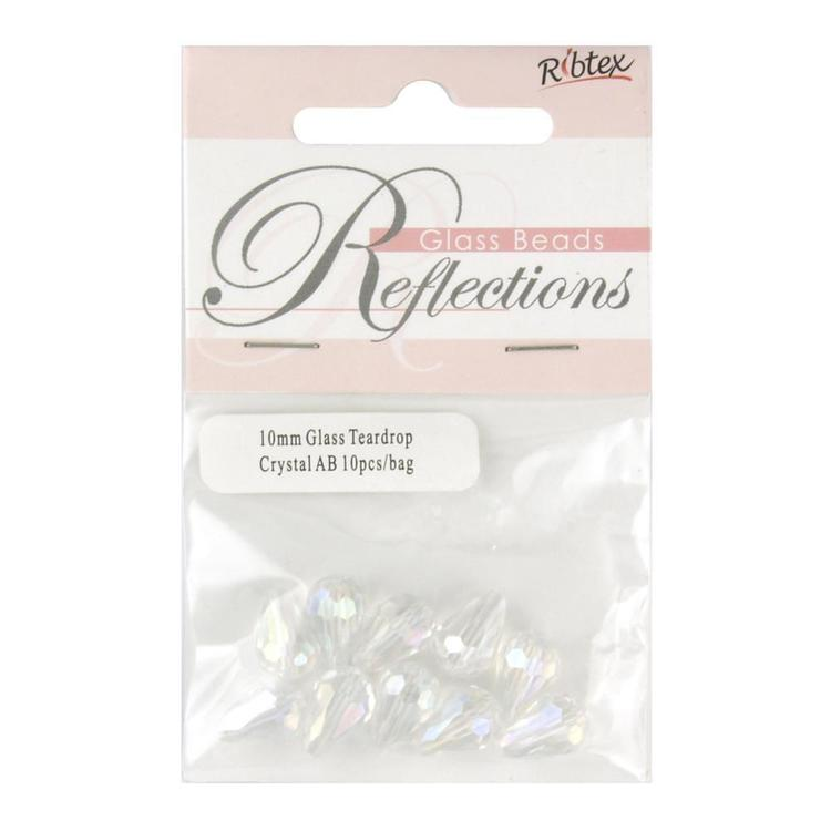 Ribtex Reflections Tear Drop Glass Beads Ab Crystal 10 mm