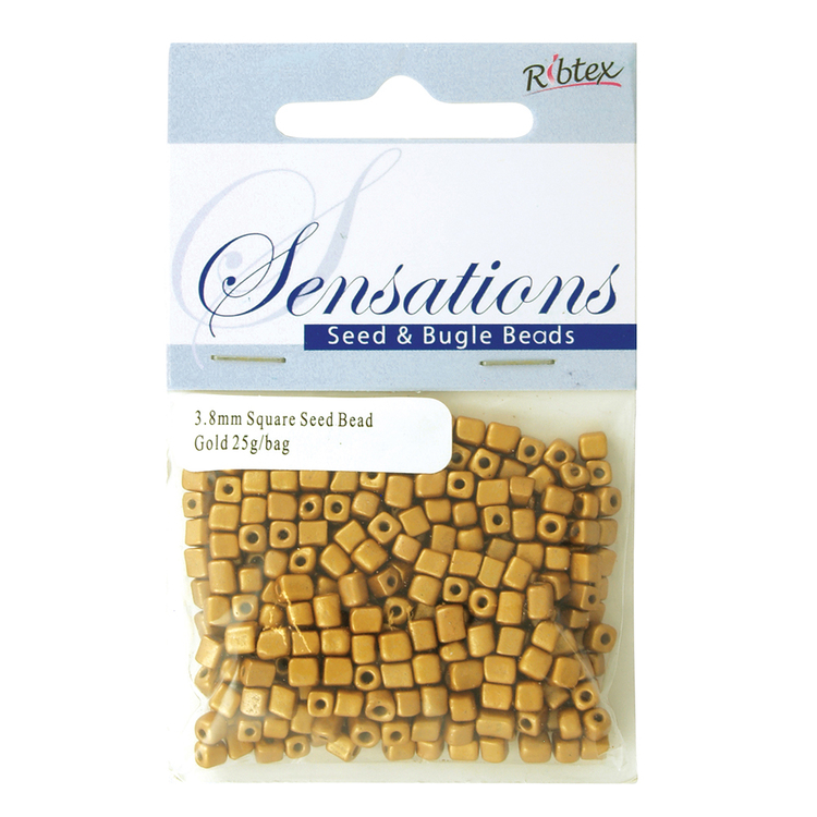 Ribtex Sensations Square Seed Bead Solid Gold 3.8 mm