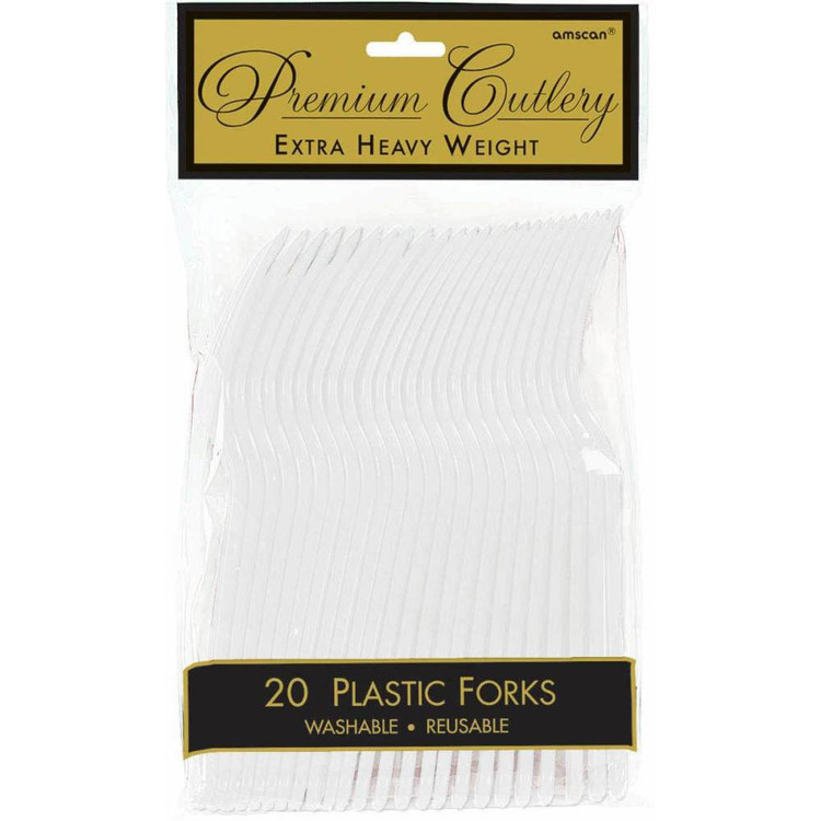 Amscan White Heavy Weight Plastic Forks 20 Pack White