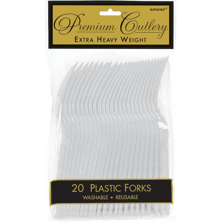 Amscan Silver Heavy Weight Plastic Forks 20 Pack Silver