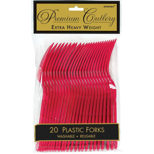 Amscan Red Heavy Weight Plastic Forks 20 Pack