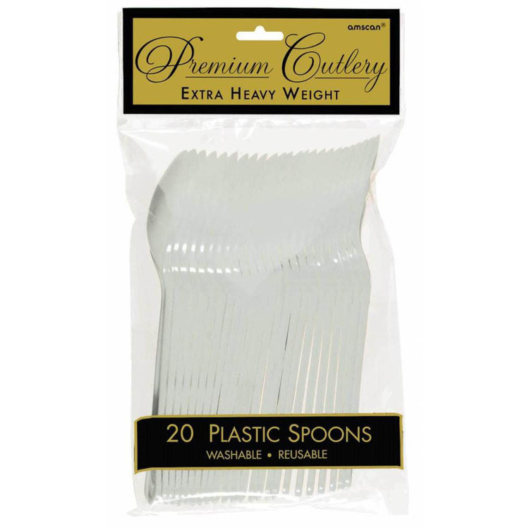 Amscan Silver Heavy Weight Plastic Spoons 20 Pack