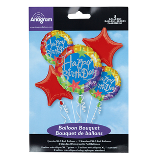 Amscan Happy Birthday Foil Bouquet Balloons
