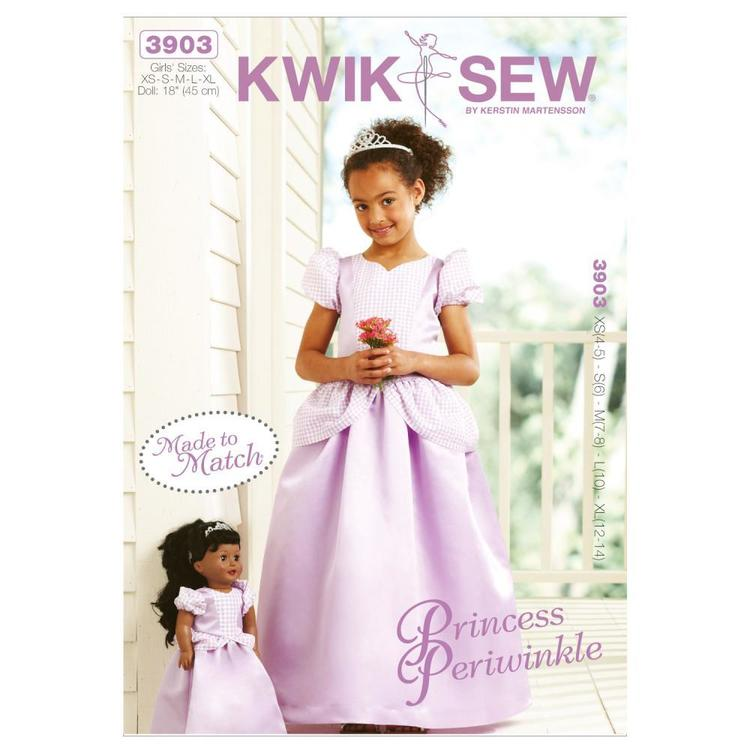 Kwik Sew K3903 Princess Periwinkle Girls' & Doll Made To Match Dresses  4 - 14
