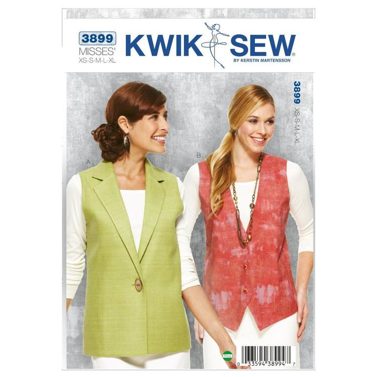 Kwik Sew K3899 Vests  X Small - X Large