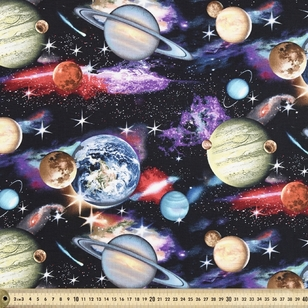 In Space Planets Printed Cotton Fabric