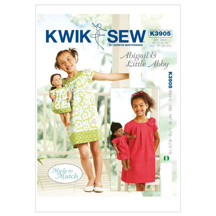 Kwik Sew K3905 Abigail & Little Abby Made To Match Dresses  4 - 14