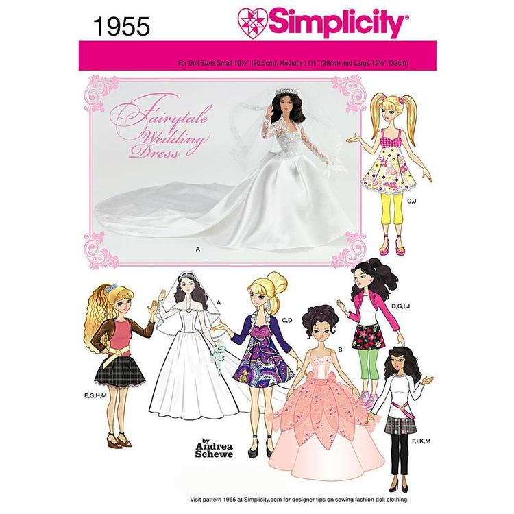 Simplicity 1955 Doll Clothes  Small - Large