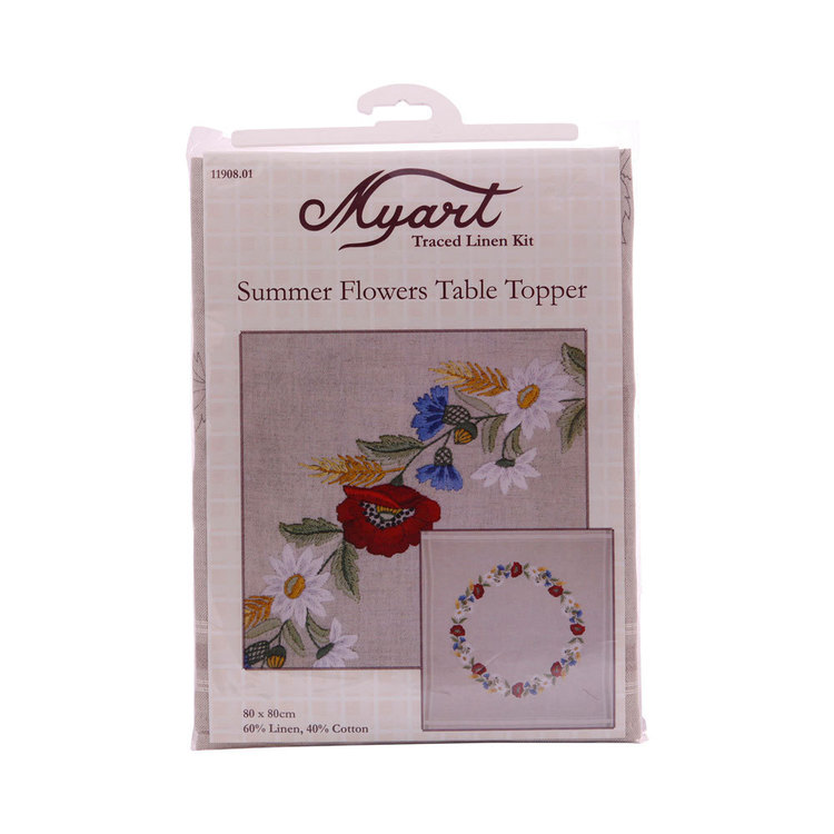Myart Traced Linen Summer Flowers Topper Multicoloured