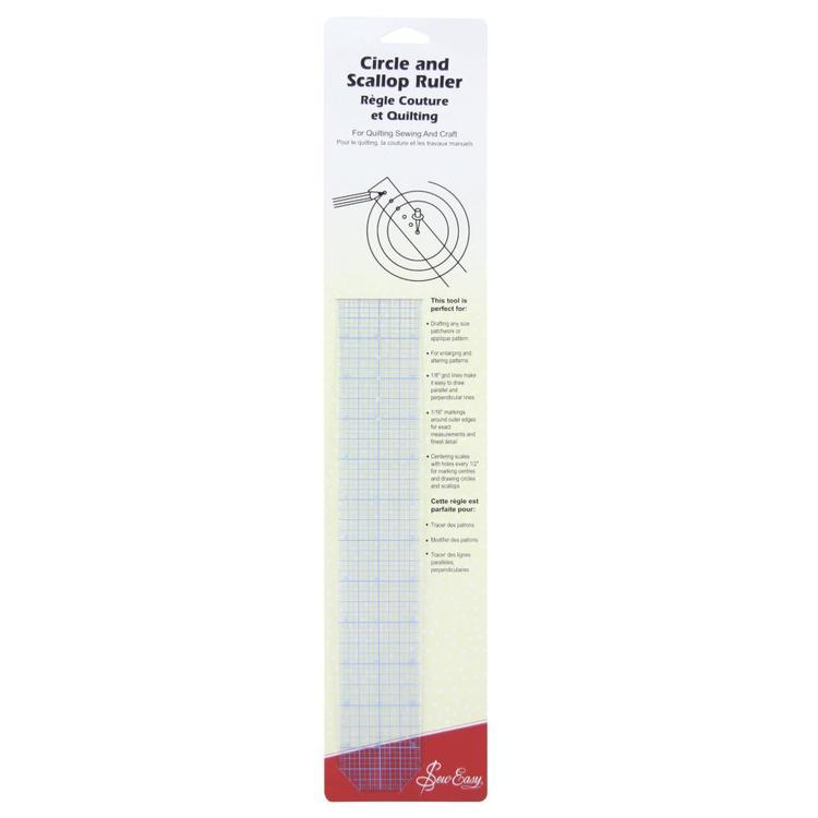 Sew Easy Ruler Circle & Scallop Clear 18 x 2 in