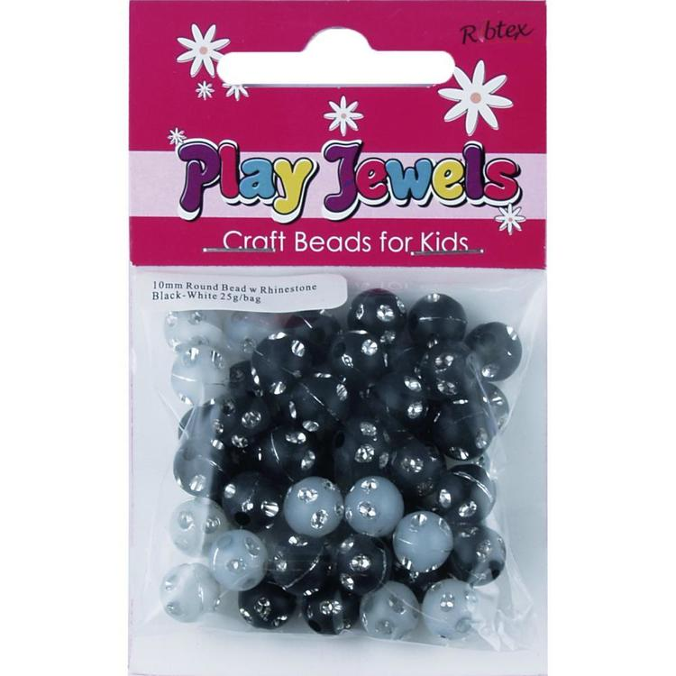 Ribtex Play Jewels Round Beads With Rhinestone