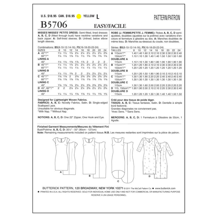 Butterick B5706 Misses' Petite Dress