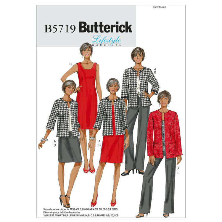 Butterick Pattern B5719 Women's Jacket Dress Skirt & Pants